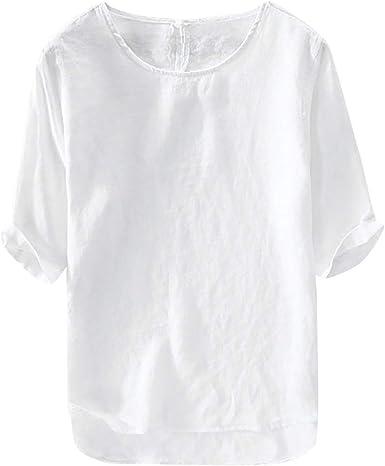 Camiseta De Lino para Hombre Camisa Casual 3 4 Mangas Ropa de ...