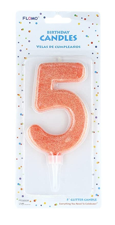 Amazon.com: FLOMO Large Glitter Number #5 Happy Birthday ...