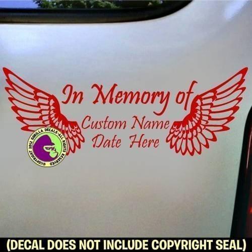 (MEMORIAL with Wings ADD CUSTOM WORDS Vinyl Decal Sticker D)