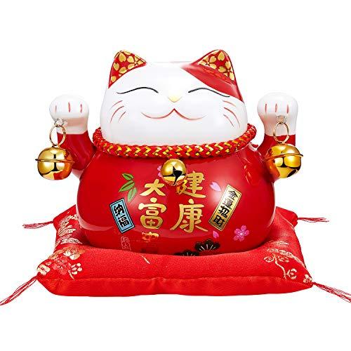 RandJ Maneki Neko - Japanese Lucky Cat with Two Bells Maneki Neko Lucky Cat Piggy Bank Gift (Red)