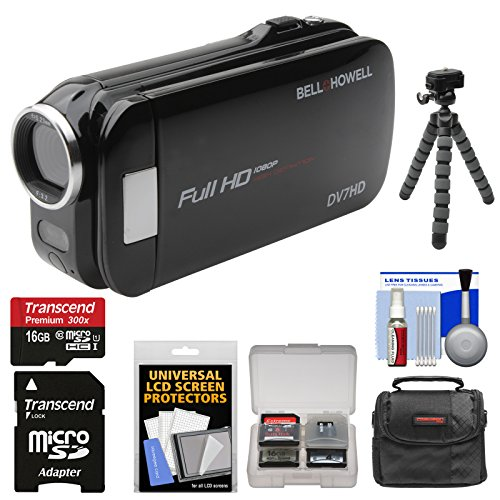 Bell & Howell Slice2 DV7HD 1080p HD Slim Video Camera Camcorder (Black) with 16GB Card + Case + Flex Tripod + Kit (Bell Dnv16hdz Howell)