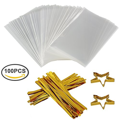 COOLAKE Clear Treat Bags 100 PCS Cellophane Bags Party Favor Bags with 100 PCS Metallic Twist Ties For Kids Birthday Candy Popcorn Gift Cookie Small (4''by (Small Lollipop)