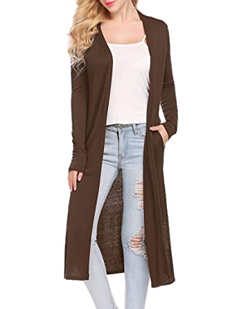 3e2a507782 Locryz Women s Long Sleeve Open Front Drape Maxi Long Duster  Cardigan(S