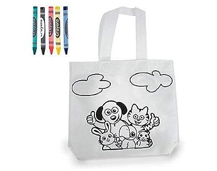 Lote 25 Bolsas Infantiles para Colorear y Pintar, Cada una Incluye 5 Ceras Colores Fiestas de cumpleaños, Eventos, colegios, guarderías.
