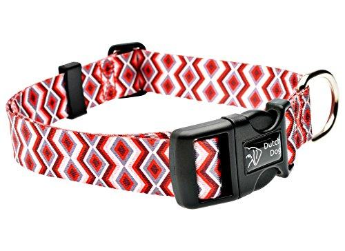 DoggyRide Fashion Dog Collar, 15 by 20-Inch, Ravishing Red Poppy, Red/Cream