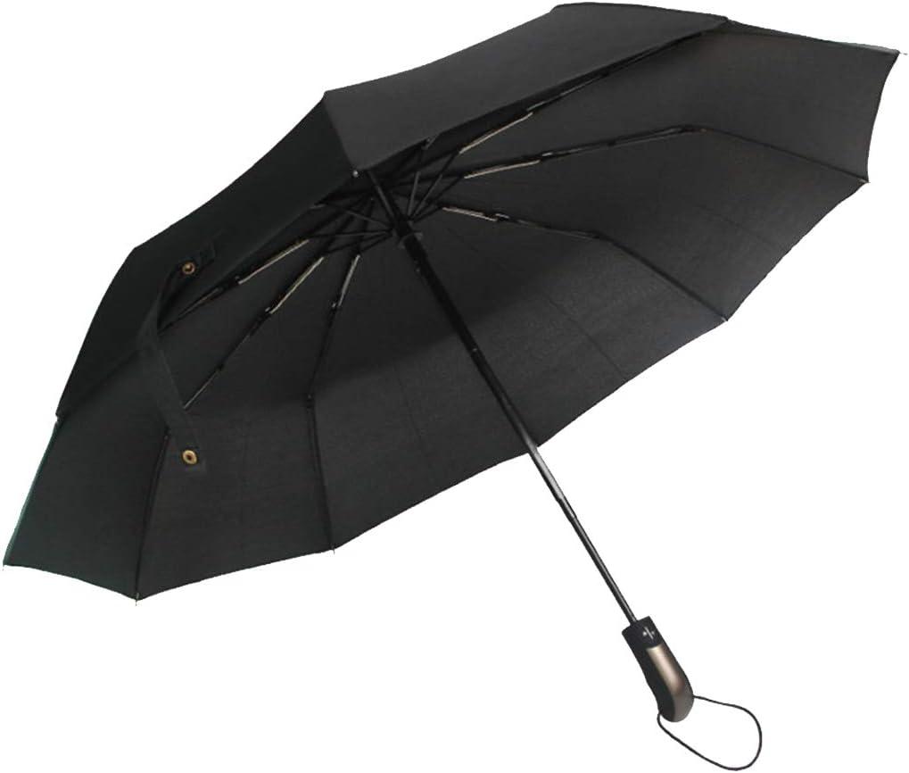 Paraguas de Viaje Paraguas Negro Compacto Resistente al Viento Tinyuet Paraguas Plegable Autom/ático Antiviento Negro 41 Inch 10 Esqueletos de Paraguas