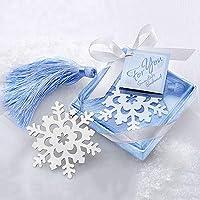 Marcador de página super 1798 de liga de floco de neve com caixa de fita, presente de decoração de casamento