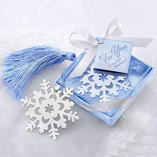 Lesezeichen mit Schleife, Schneeflocken-Design, Legierung, Geschenk, Hochzeitsdekoration, Rycnet