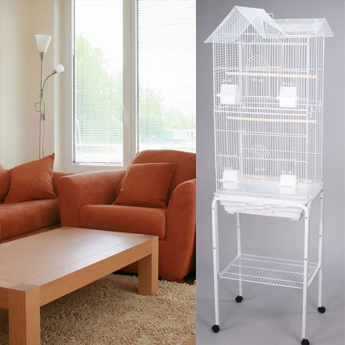 Mcage 63'' Rolling Standing Bird Cage for Cockatiel Sun Conure Parakeet Finch Budgie Lovebird Canary Pet Bird Cage with Stand (White)