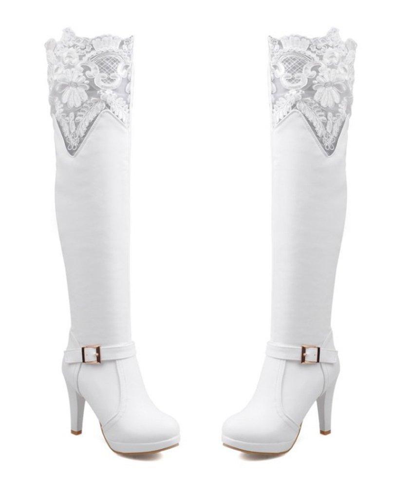 new style dd211 e9c32 Cordones elegantes de las mujeres de Aisun punta redonda de la cremallera  del vestido Plataforma de tacón alto rodilla botas altas Zapatos Blanco