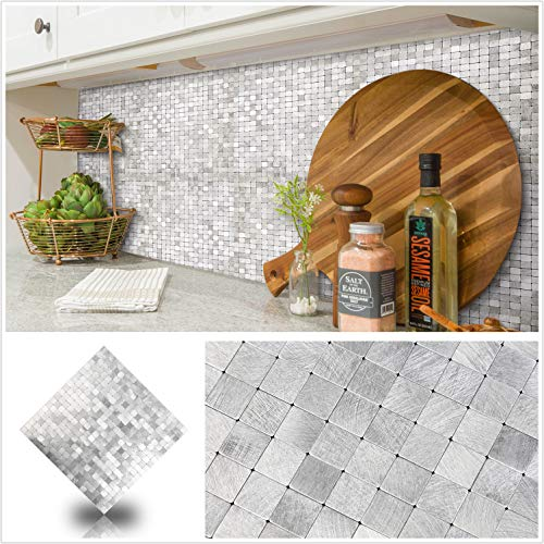 HomeyStyle Peel and Stick Tile Backsplash for Kitchen Wall Decor Aluminum Surface Metal Mosaic Tiles StickerPlaid 12quotx12quot x 5 Tiles