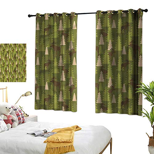(Davishouse Thermal Curtains Forrest Creatures Moose Darkening and Thermal Insulating 72
