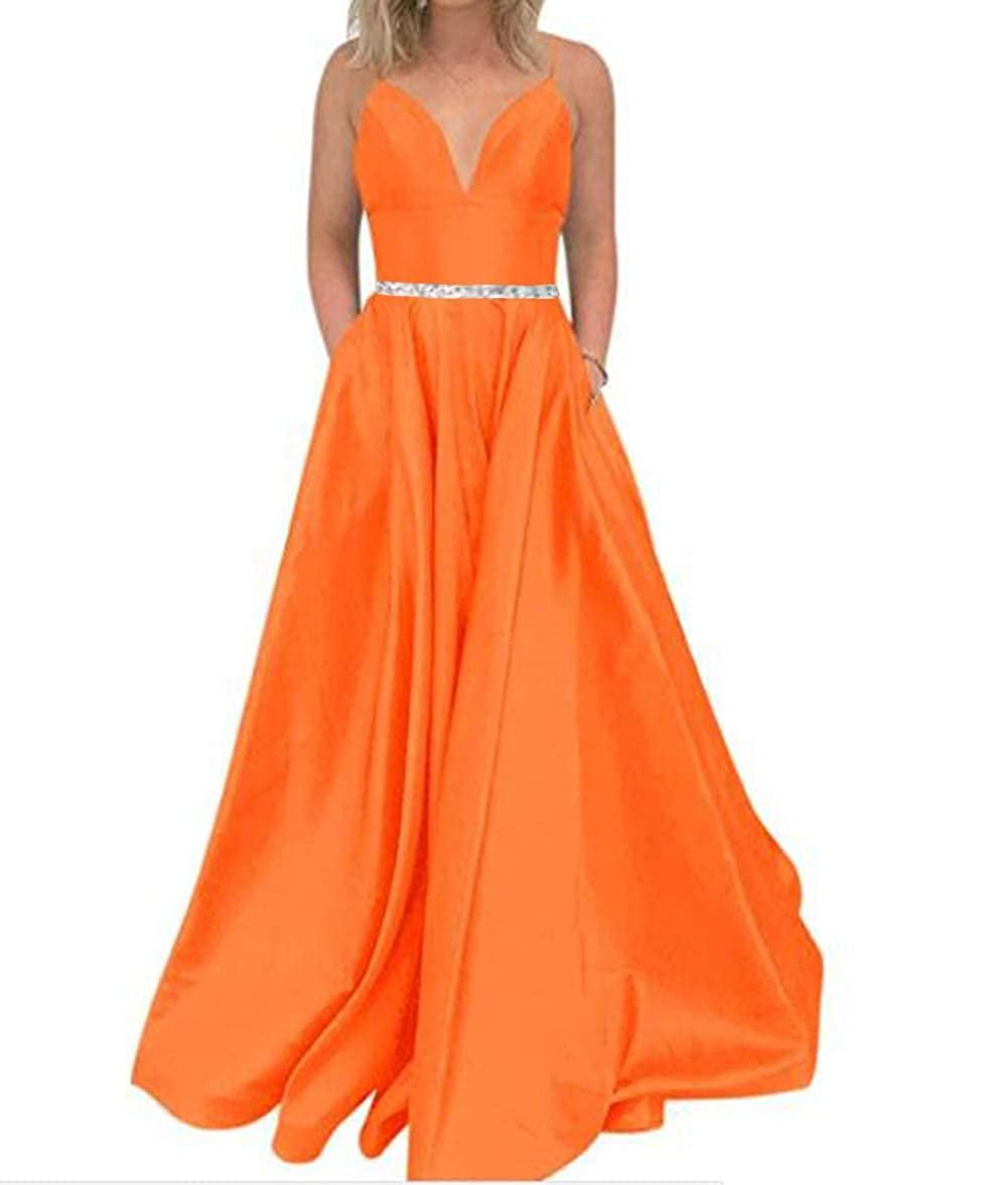 orange Tsbridal Women's A Line Bead Prom Dresses V Neck Satin with Pockets Evening Gown
