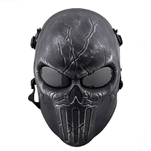 [New Overhead Skull Mask Halloween Cosplay Outdoor Hunting Cs War Game Mask Skull Skeleton Airsoft Paintball Full Face Tactical Protective Mask] (Star Wars Full Face Darth Vader Hoodie)
