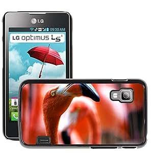 Etui Housse Coque de Protection Cover Rigide pour // M00114821 Pink Flamingos Aves Animales Pico // LG Optimus L5 II Dual E455 / E460