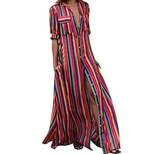 (XILALU Women Loose Striped Print Multicolor Half Sleeve Button Down T Shirt Style Boho Casual Beach Long Robe Maxi Dress)