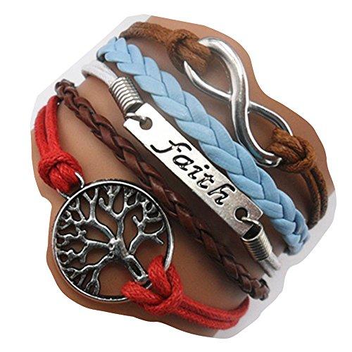 Ac Union ACUNION™ Handmade Tree for Life Faith Charm Friendship Gift Leather Bracelet (Life Leather 003)