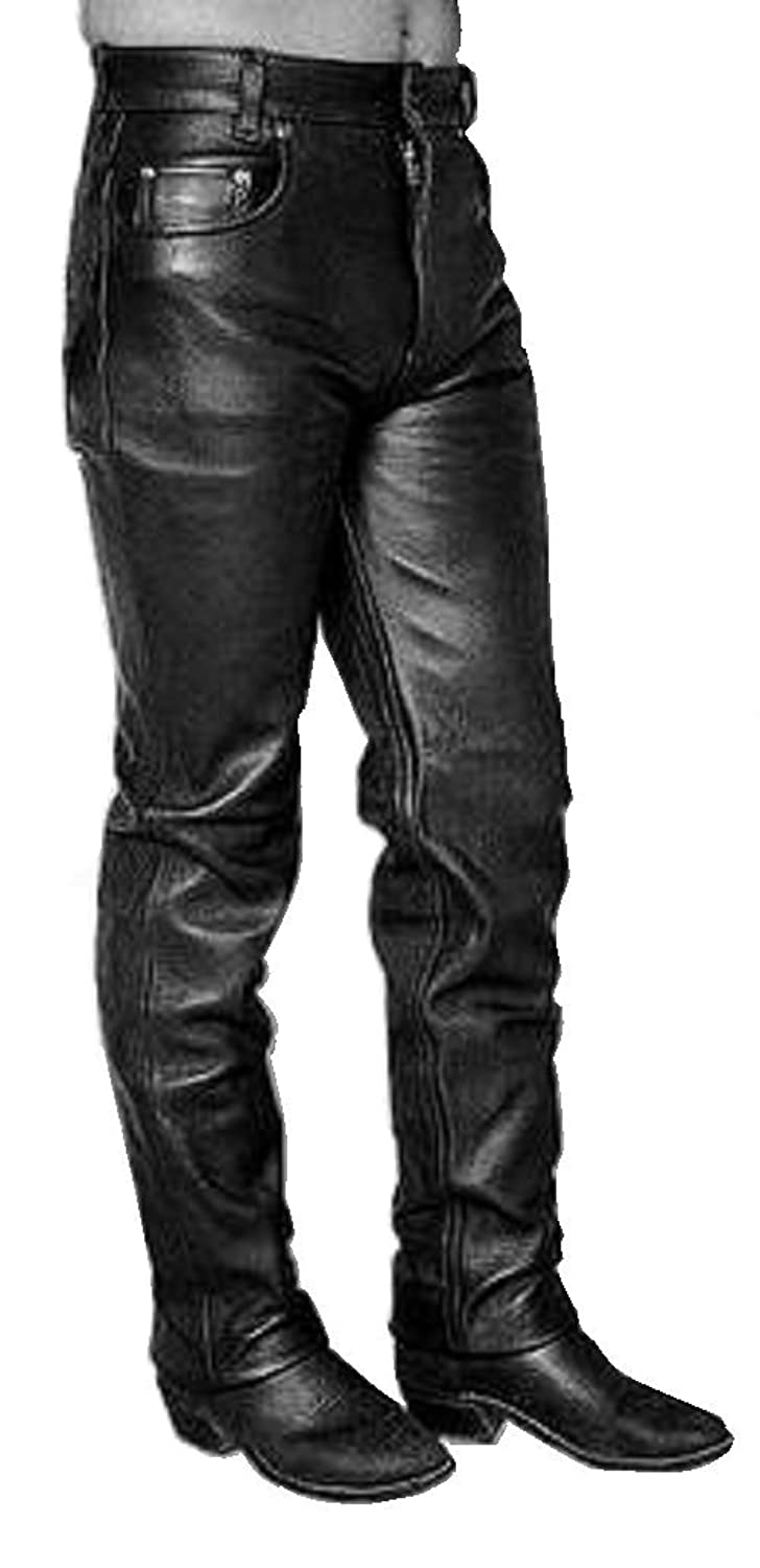 Men's Black 5-Pocket Leather Jeans Pants