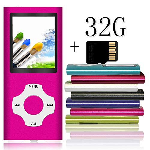 Tomameri - Portable MP3 / MP4 Player with Rhombic Button, Including a Micro SD Card and Support Up to 64GB, Compact Music, Video Player, Photo Viewer Supported - Purple