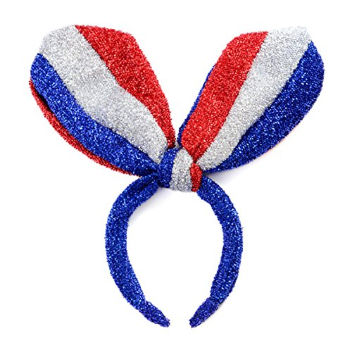 - Apol Fashion American Flag Pattern Headband Bunny Rabbit Ear Headwear for Flag Day Fourth Of July Independence Day National Day Party Supplies