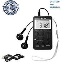 AM/FM Pocket Radio with Super Reception, Gyeitee Portable Digital Stereo Radio with Earphones (Black)