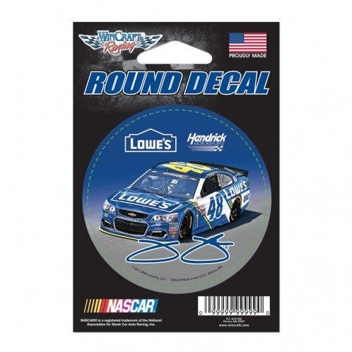 WinCraft Jimmie Johnson Official NASCAR 3 inch Round Car Decal by ()