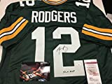 Aaron Rodgers Autographed Signed Green Bay Packers Custom Jersey XLV MVP INSCRIBED JSA Witnessed & COA W/Photo Of Signing