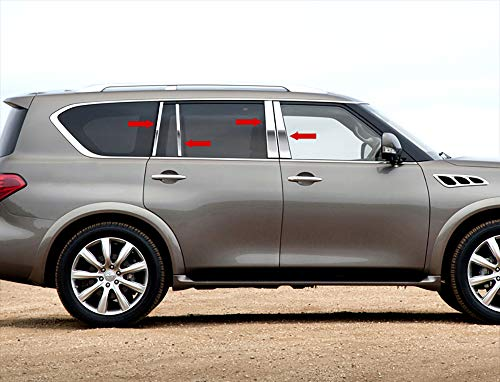 Made in USA! Works with 2011-2013 Infiniti QX56/2014-2017 QX80 8PC Stainless Steel Chrome Pillar Post Trim ()