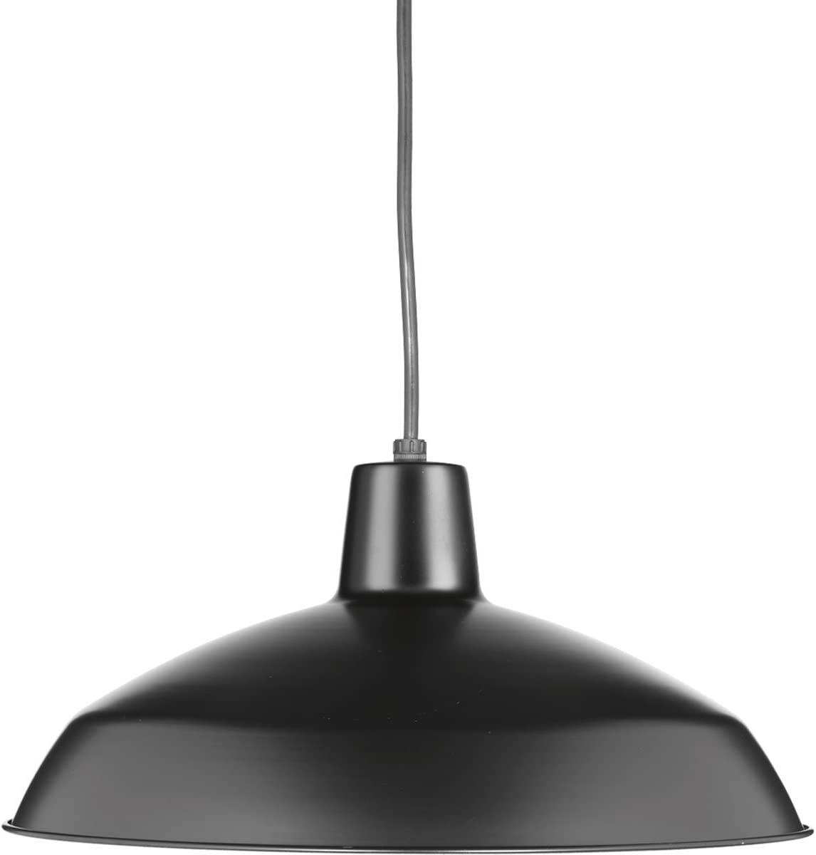 Progress Lighting P5094-31 Transitional One Light Metal Shade Pendant Collection in Black Finish