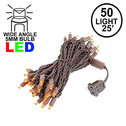 Novelty Lights 50 Light LED Christmas Mini Light Set, Outdoor Lighting Party Patio String Lights, Amber, Brown Wire, 25 Feet