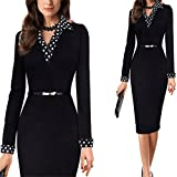 Office Business Dress Suit Retro Black Red Green Elegant Workwear Pencil Dress