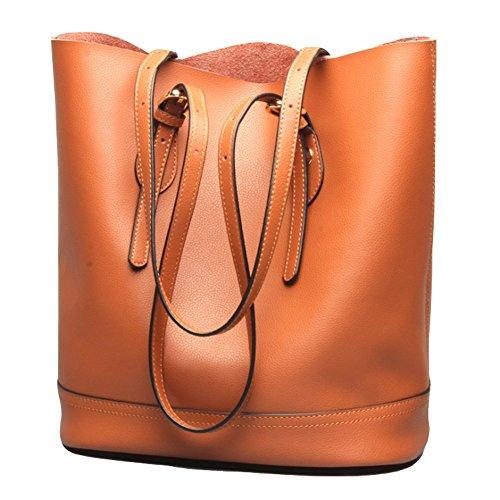 Covelin Women's Handbag Genuine Leather Tote Shoulder Bucket Bags Large Capacity Brown
