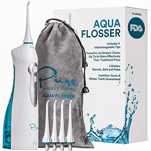 Pure Daily Care Aqua Flosser Professional Cordless Oral Irrigator with 4 Tips and Travel Bag, IPX7 Waterproof with 3 Modes
