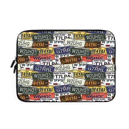 USA Laptop Sleeve Bag,Neoprene Sleeve Case/Retro American Auto License Plates Utah Washington Rhode Island North Carolina Print/for Apple MacBook Air Samsung Google Acer HP DELL Lenovo ()