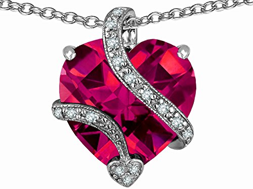 Star K Large 15mm Heart Shape Created Ruby Love Pendant Necklace Sterling Silver