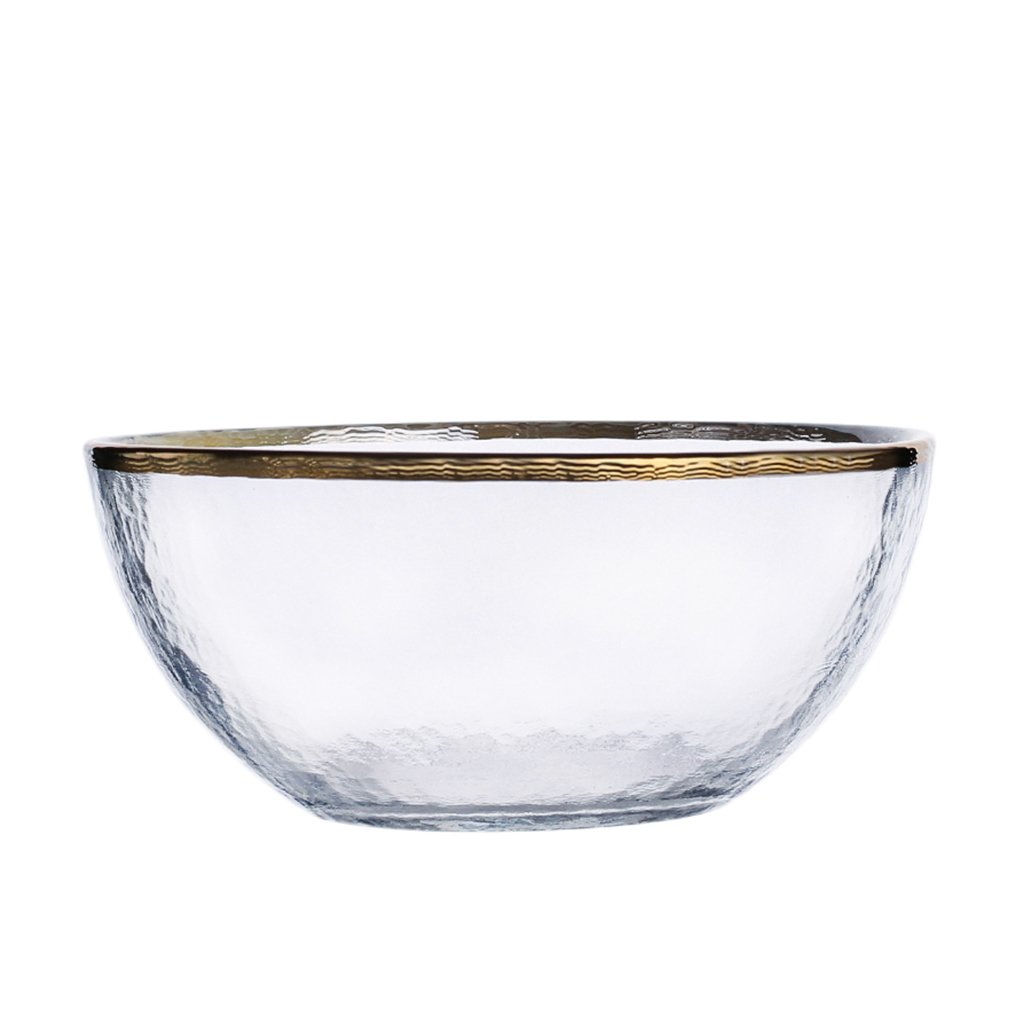 Japanese-Style Golden Edge Household Glass Bowl Salad Bowl Vegetable Bowl Steak Western Food Bowl Home Meal Bowl, Breakfast, Lunch, Supper (Size : 15cm(5.9 inches))