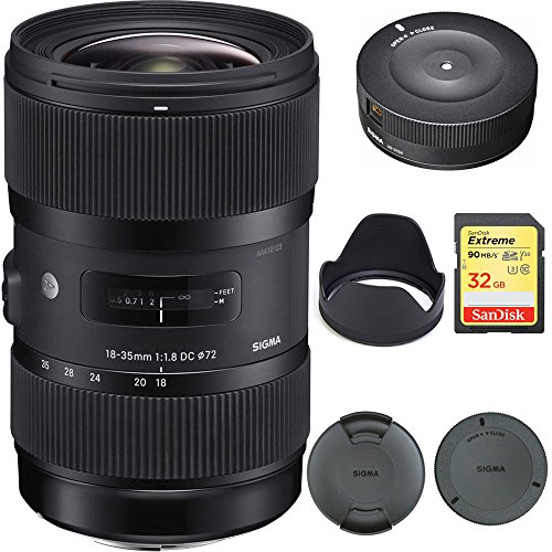 Sigma AF 18-35MM F/1.8 DC HSM Lens for Sony (210-205) with Sigma USB Dock for Sony Lens & Lexar 32GB Professional 1000x SDHC Class 10 UHS-II Memory Card