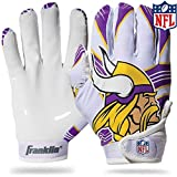 Franklin Sports Minnesota Vikings Youth NFL Football Receiver Gloves – Receiver Gloves for Kids – NFL Team Logos and Silicone Palm – Youth S/XS Pair