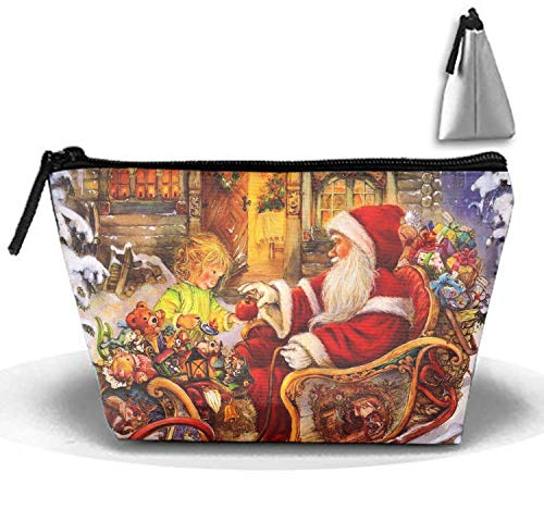 Roomy Cosmetic Bag Santa Claus Sleigh Baby Apple Gifts Toiletry Pouch Makeup with Zipper for Travel