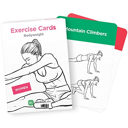 EXERCISE CARDS - Premium Visual Bodyweight Workout Cards by WorkoutLabs · Waterproof Fitness Flash Cards for Home Workouts without Equipment (Women)