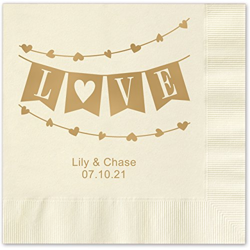 Banner Love Personalized Beverage Cocktail Napkins - 100 Custom Printed Ecru Paper Napkins with choice of (Love Beverage Napkins)