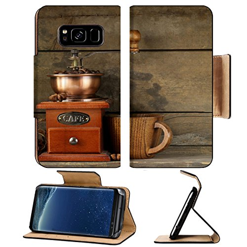 Liili Premium Samsung Galaxy S8 Plus Flip Pu Leather Wallet Case ID: 22820292 Still life of wooden coffee grinder cinnamon sticks and star anise