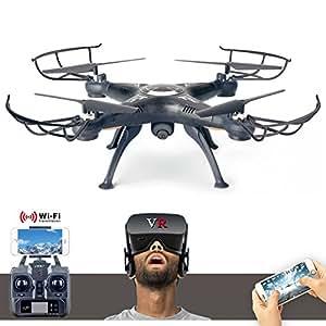 X5 SW-1 Aire Quadcopter FPV 2.4GHz WiFi helicóptero teledirigido Drone con PVF HD 3D VR Cámara Gafas (Quadcopter con gafas de 3D, negro)