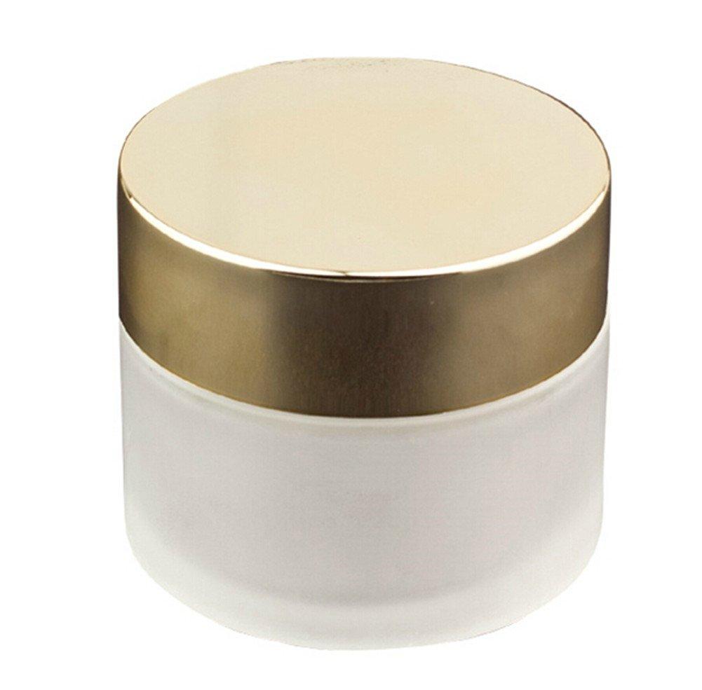Moyishi Matte Glass 4 oz Amber Salve Jar w/ Golden Lid 4 pk