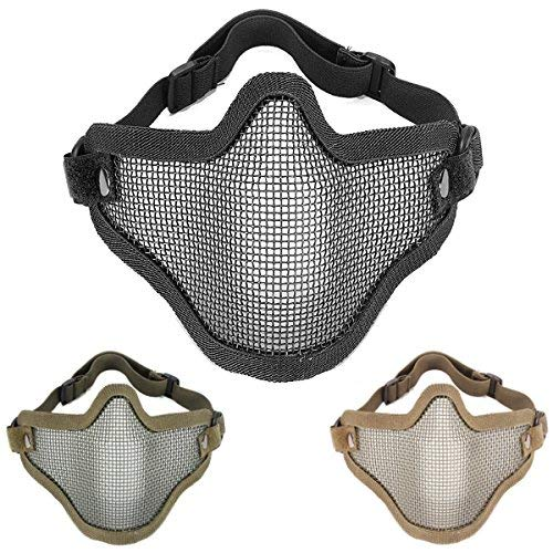 (Motorcycle Face Mask - Half Metal Steel Net Mesh Mask Motorcycle Tactical Hunting - Typeface Fractional Confront Cloak Incomplete Grimace Masquerade Look Out Over Across Human - 1PCs)