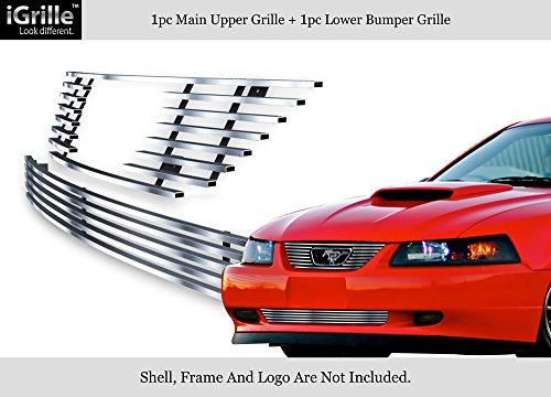 APS Compatible with 1999-2004 Ford Mustang V6 V8 GT Stainless Steel Billet Grille Combo S18-C43776F