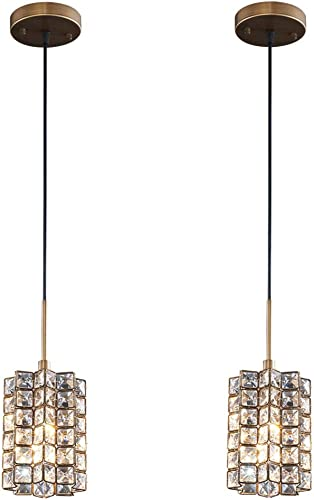 SHUPREGU Pendant Light Ceiling Crystal Light Fixture Oil Rubbed Broze Finish Lighting for Kitchen Island, Dining Room, Bar, LED Bulb Not Included 2-Pack