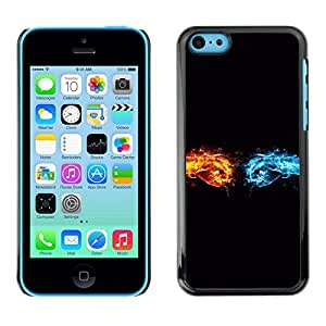 KOKO CASE / Apple Iphone 5C / fire water symbol life elements blue yellow / Slim Black Plastic Case Cover Shell Armor
