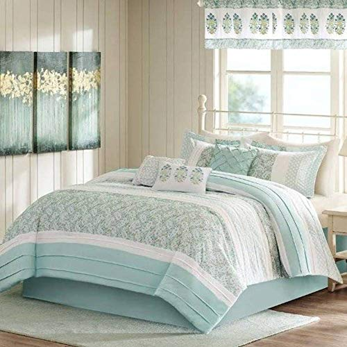 Madison Park Willow Green & White Reversible 9 Pc Comforter Bedding King/California King & Valance Set (Willow King Comforter)
