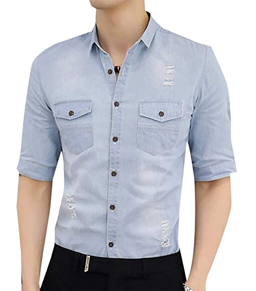 785c72e500327 Generic Men s Short Sleeve Button Down Western Fitted Solid Work Oxford  Shirt Light Blue XS